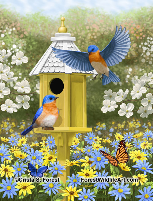 painting of bluebirds and goldfinches at a fountain birdbath by artist Crista S. Forest