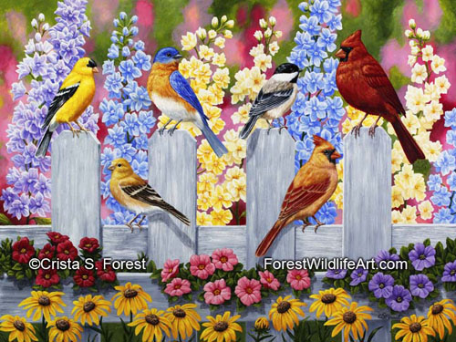 Oil painting of colorful birds and flowers by artist Crista Forest