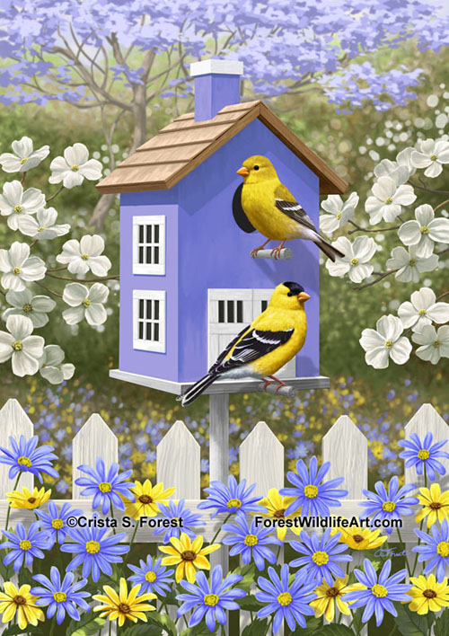 painting of bluebirds and goldfinches in a birdbath by wildlife artist Crista Forest, ForestWildlifeArt.com.