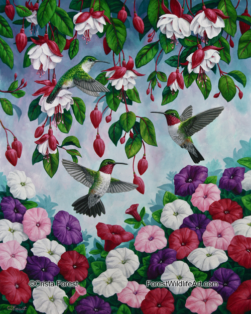 garden flag painting of hummingbirds and flowers by wildlife artist Crista Forest, ForestWildlifeArt.com. Fine Art Prints available