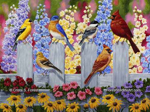 goldfinch, chickadee, bluebird, cardinal, and flowers
