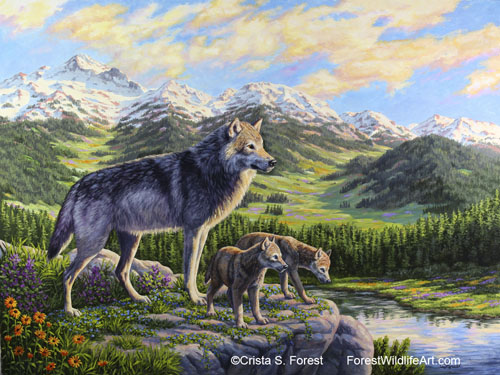 Wolf mother and pups