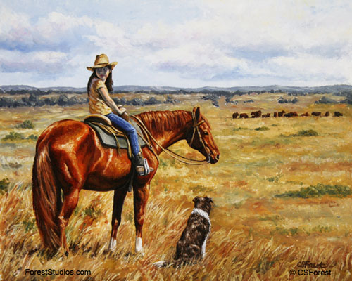 cowgirl and cattle horse painting