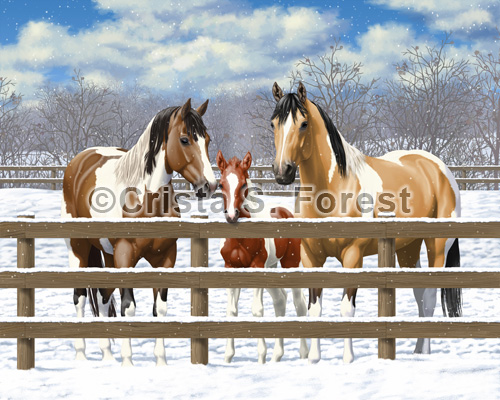 Horse Family Colors painting