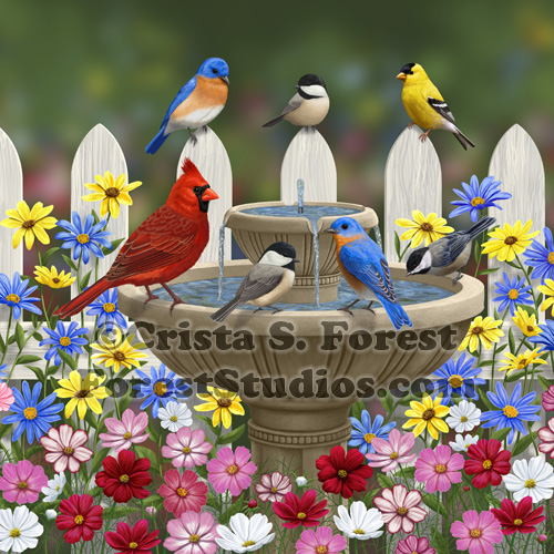 The Colors of Spring birds painting