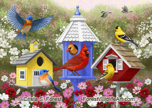 painting of colorful birds and birdhouses by wildlife artist Crista Forest, ForestWildlifeArt.com. Fine Art Prints available