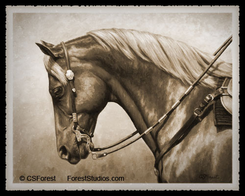 Oil painting of western horse horse with aged photo effect by equine artist Crista Forest, ForestStudios.com. Fine Art Prints available