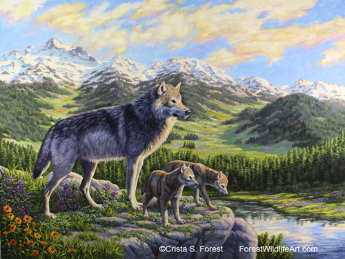 Oil painting of mother wolf and pups by wildlife artist Crista Forest